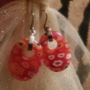 RED Decorative Glass Stone Pierced Earrings
